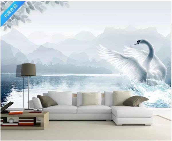 3D wallpaper custom photo Silk mural wallpaper sticker Landscape white swan TV background wall paper home decor papel de parede 3d
