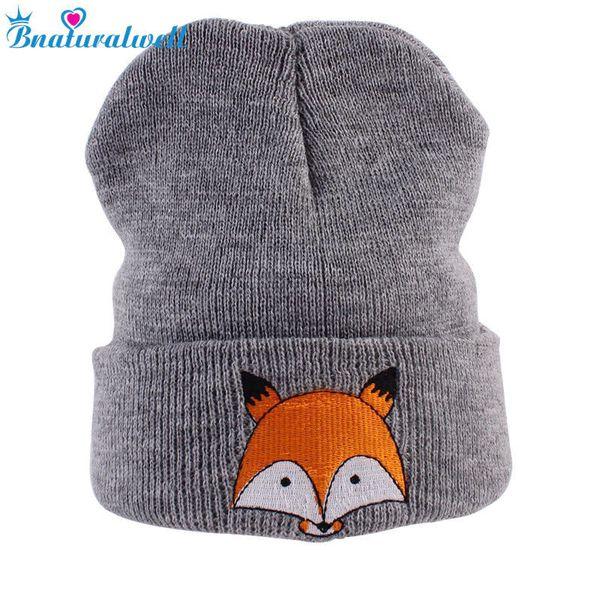Bnaturalwell Fox beanies Kids knitted animal hat Slouchy beanie Children hat with fox Little boys girls spring cap H086D