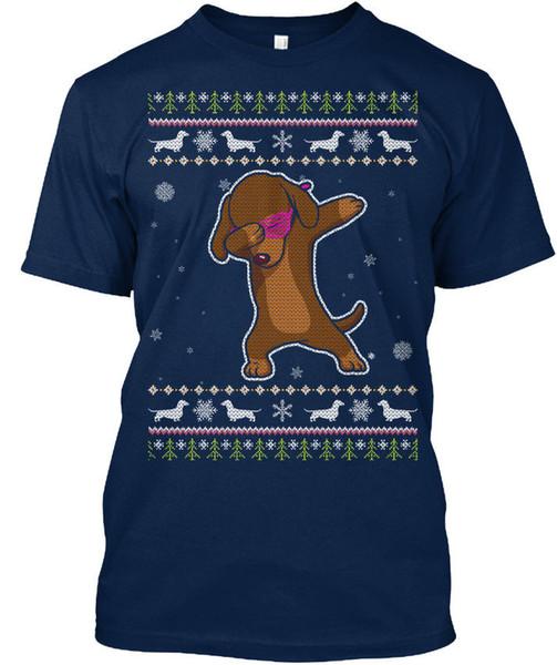 Easy-care Dachshund Christmas Sweater/ T-shirt Élégant T-shirt Élégant T Shirt Men's Digital Direct Printing Short Sleeve Crewneck Cotton Ca