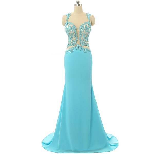 Custom Made Prom Dress 2019 See Through Back Applique Long Patterns Special Occasions Prom Dress formal dresses evening plus size