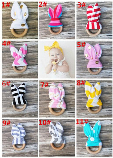 best selling New Baby Teether Wooden Ring Baby Molars Teeth Training Toys Infants Hand Rattles Newborn Babys' Gift Exercises Toys Teeth training toy KKA1