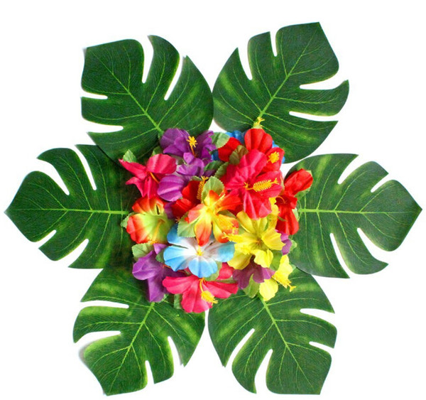 Artificial Tropical Palm Leaves Petal Silk Flower Decoration Set for Hawaii Luau Party Decorations Beach Theme Wedding Table Home garden