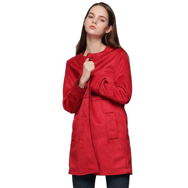 Women Suede Red Jackets 2018 Female Faux Leather Long Jacket Feminine European Style Girls Wild Slim Coat Ladies Autumn Clothes