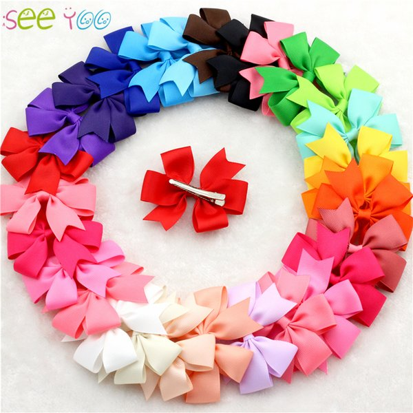30pcs/lot bebe bow clips little Girls hair grosgrain ribbon Bow for hair Boutique hairpins girl hair accessories free shipping