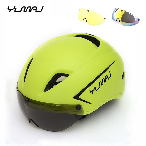 YUMAJ 3 Lens Aero Ultralight Bicycle Helmet MTB Racing Cycling Sports Safety Helmet Timed Road Bike With Goggles