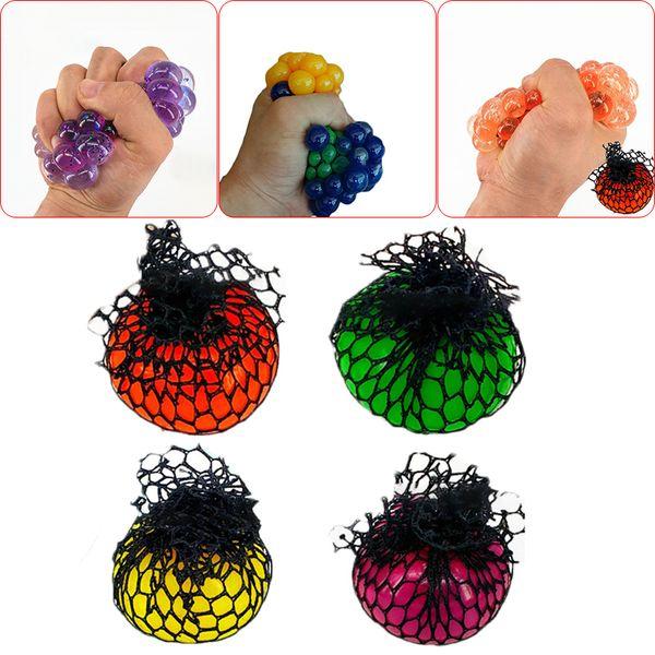 Random Fruit Water Grape Ball Squishy Mesh Net Stress Reliever Children Toy
