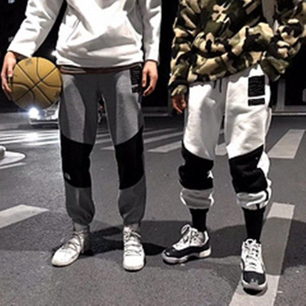 N F Cotton Sweatpants Stitching Pants Leisure Sports Fashion Men Women Couples Velvet Trousers High Street Pants HFWPKZ011