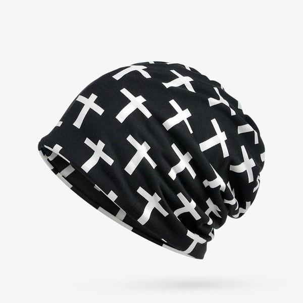 Turban Hat Women Cross Pattern Beanie Cappelli per uomo Bone Cap Estate Autunno Hat Femme Donna Maschile Collar Sciarpa Maschera Skullies