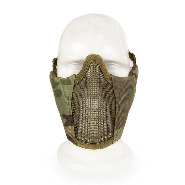 12Colors Tactical Cs Field 1000D Nylon Máscara de la mitad inferior del alambre de metal Airsoft Paintball Metal Steel Net Máscara de malla Deporte Envío Gratis