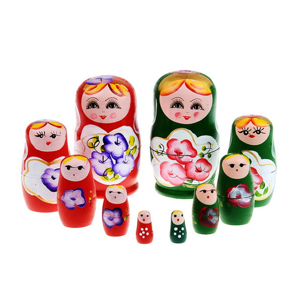 top popular 5pcs set Wood Russian Dolls Set Wooden Nesting Babushka Matryoshka Hand Paint Dolls Baby Toys for Girls 2021