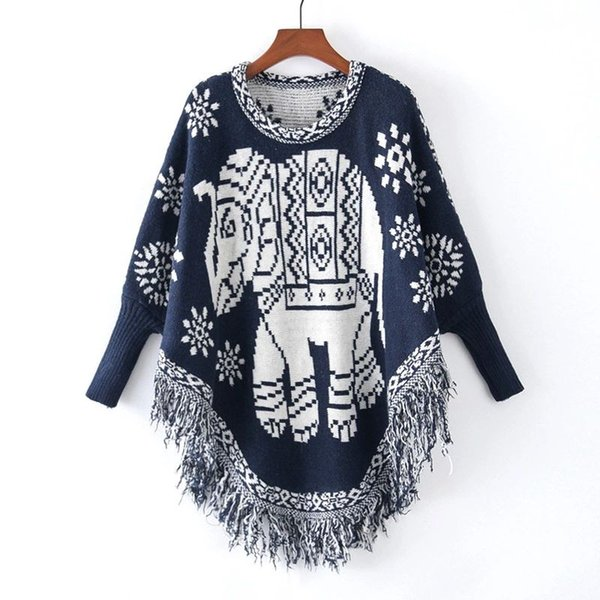 2018 Autumn Women's Knitted Sweater Bat-wing Sleeve Elephant Tassels Pullovers Poncho Lady Knitwear Sweaters Gray Navy C3740