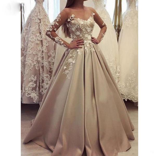 Vestido de novia Lace Wedding Dress A Line Off The Shoulder Sheer Illusion Long Sleeve Applique Satin Floor Length 2019 Wedding Bridal Gowns