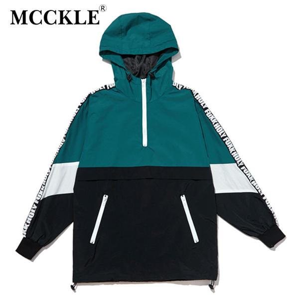 MCCKLE Mit Kapuze Jacken Hip Hop 2017 Herbst Reißverschluss Trainingsanzug Freizeitjacke Mäntel Männlichen Streetwear Patchwork Farbblock Pullover