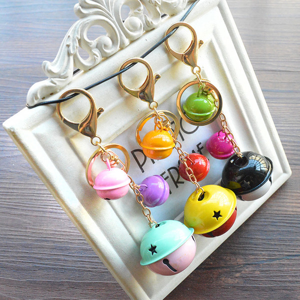 Free DHL 8 Styles Creative Metal Candy Color Ring Bell Keychain DIY Cartoon Lovely Couple Car Bag Pendant Girls Essential Gift Keyring B791Q