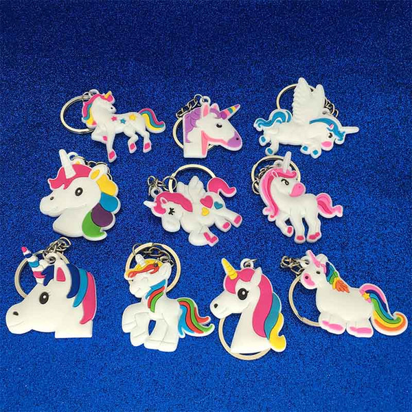PVC Unicorn Keychain Key Ring Chains Bag Hang Pendant Plastic Fashion Accessories Jewelry for Women Kids Promotion Gift DROP SHIP 340006