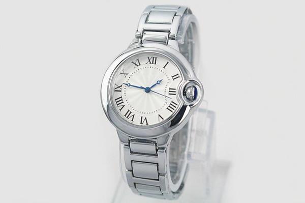 Marken-Auto-Ballon-Luxusuhr-Dame Silver Stainless Steel Watches Diamond Wristwatch Womens Bracelet Watch Freies Verschiffen