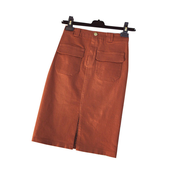3222e37e0a8 Korean Style Split Front Pencil Midi Skirt Women 2018 Summer Pocket Korean  Denim Skirt Jeans High Waist Female Clothes PZ293
