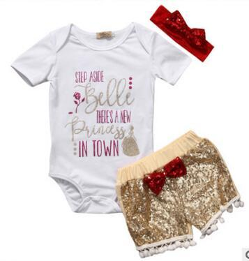 Baby girl INS letters rompers suit 7 Style Children Short sleeve triangle rompers+paillette shorts+bowknot Hair band 3pcs sets clothes