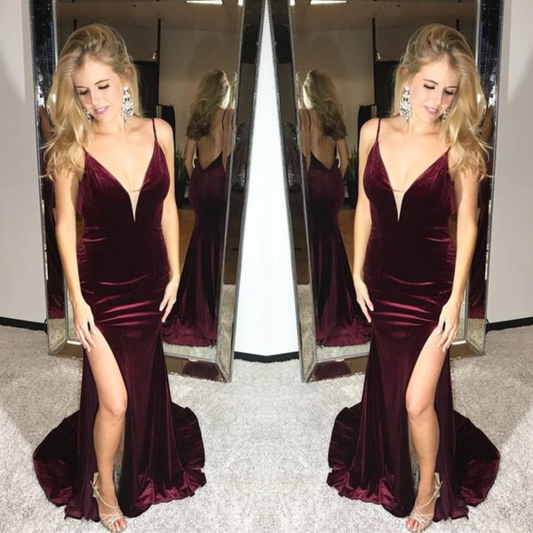 Charming Burgundy Plug Velvet Mermaid Prom Dresses 2019 Sexy Robes de soirée longues Gorgeous Holiday Summer Formal Evening Dress Low Back