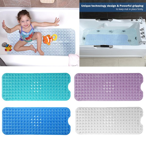 Wholesale 1 PCS Large 40*100cm PVC Non-slip Bathtub Bath Mats with Suction Cups Bathroom Accessories Free Shipping