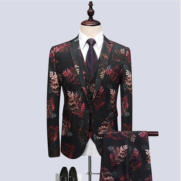 (Jacket+Vest+Pants) 2018 Leaf pattern Host dress Men Suits Fashion Party dresses Men's Slim Fit business men suit Wedding suit suit for man