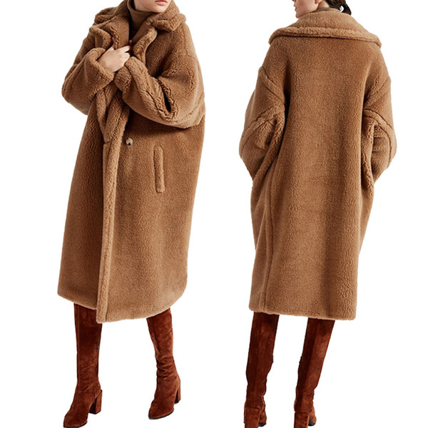 top popular 2019 Teddy bear icon coats oversized coats in fur-effect camel red black wool coats Double breasted two button fastening 2020