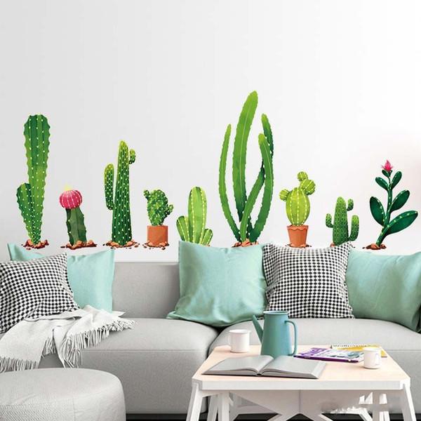 Compre Muchos Tipos De Cactus Plantas Verdes Pegatinas De Pared Sala De Estar Dormitorio Fondo Decoración Del Hogar Calcomanía Mural Decoración De La