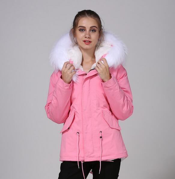 2018 girl fur jackets coats Meifeng brand Soft fur white rabbit furs lined pink mini parka with white raccoon furs trim hoody
