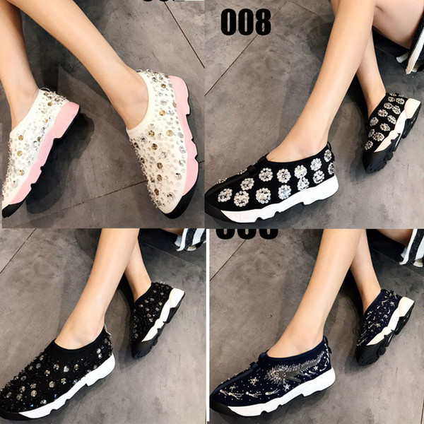 2018 Tokyo limited edition womens silver gold Glitter pink Elastic Mesh Luxury Jewelry Rhinestones embroidery low top Casual Shoes 34-41
