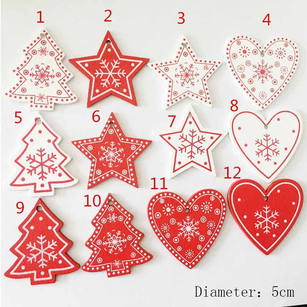 10pcs/set Lovely Snowflakes Christmas Wooden Pendants Ornaments Christmas Party Decorations Kids Gift For Xmas Tree Ornaments