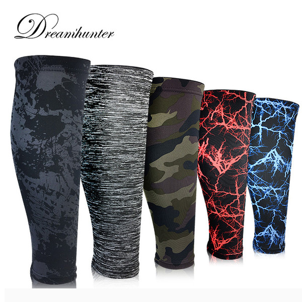 1 pair printed camouflage calf sleeves fitness shin guard compression basketball football socks running leg brace protector
