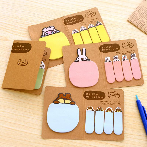 top popular New Cute Kawaii Animal Korean Stationery Memo Pad Scrapbooking Sticky Notes Book Paper Sticker Bookmark Pepsi Stick 2020
