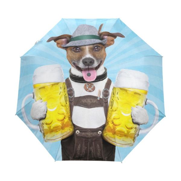 Fashion Full Automatic Dog with Beer Umbrella Sun Women Folding Parasol Brand Rain Children Umbrellas for Male Gift