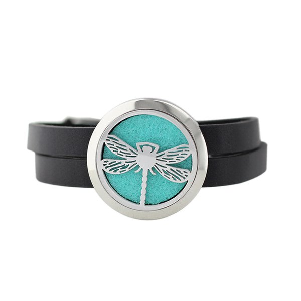 Fashion Drangonfly Butterfly 30mm 316L Stainless Steel Perfume Essential Oil Locket Black Leather Bracelet With Free Pads