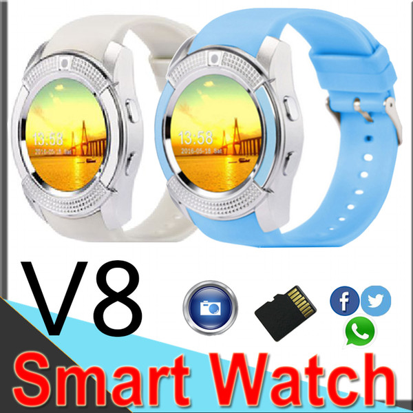 V8 Smart watch Bluetooth Smart Watch With 0.3M Camera SIM And TF Card Watch For Android System U8 IOS Iphone Cell phone In Box V812