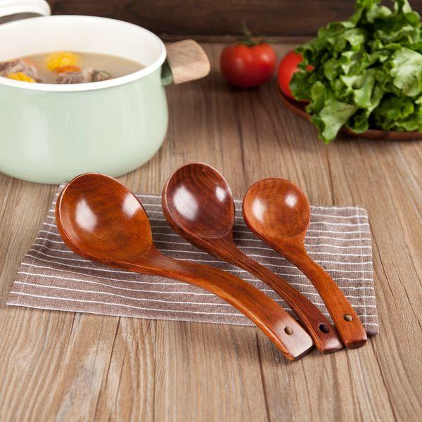 WCIC Wooden Spoons Utensils Kitchen Wood Rice Soup Dessert Spoon Dinner Tableware Set Large Long Handle Spoon