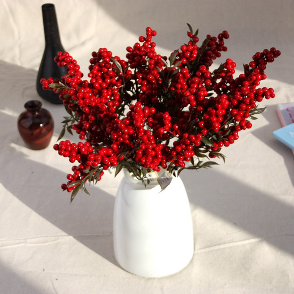 5pcs /Lot Christmas Desaturated Berries Beans Artificial Fake Silk Flower Home Garden Party Decoration Real Touch Decor