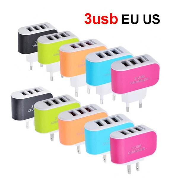 3USB QC Wall Chargers For EU US Plug Home Travel Charger AC Power Adapter 5v USB 1A 2A For iPhone Android Phones Accessories