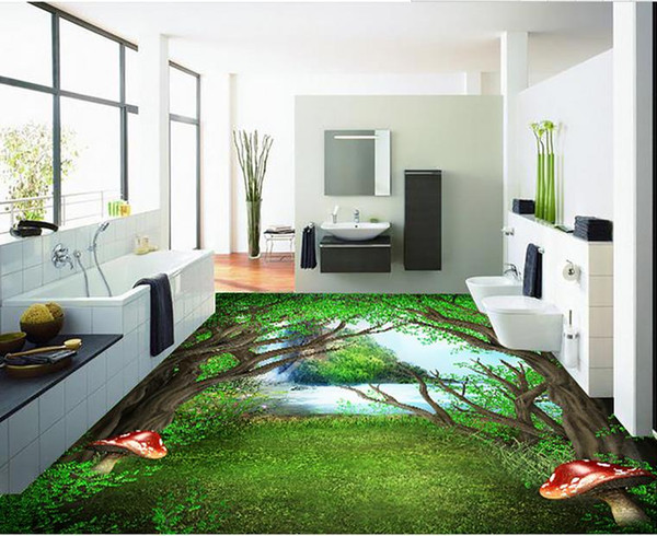 Vinyl Fußboden Im Bad ~ Großhandel pvc vinyl bodenbelag bad painted forest d bodenbelag