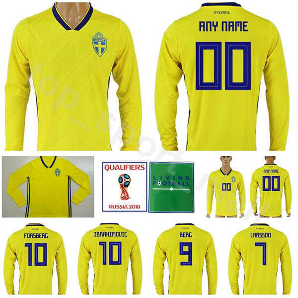 online store 20d65 572d5 2019 Sweden Long Sleeve Jersey Men 2018 World Cup 10 IBRAHIMOVIC Football  Shirt Kits Yellow 9 BERG 7 LARSSON 20 TOIVONEN 10 FORSBERG 4 GRANQVIST From  ...