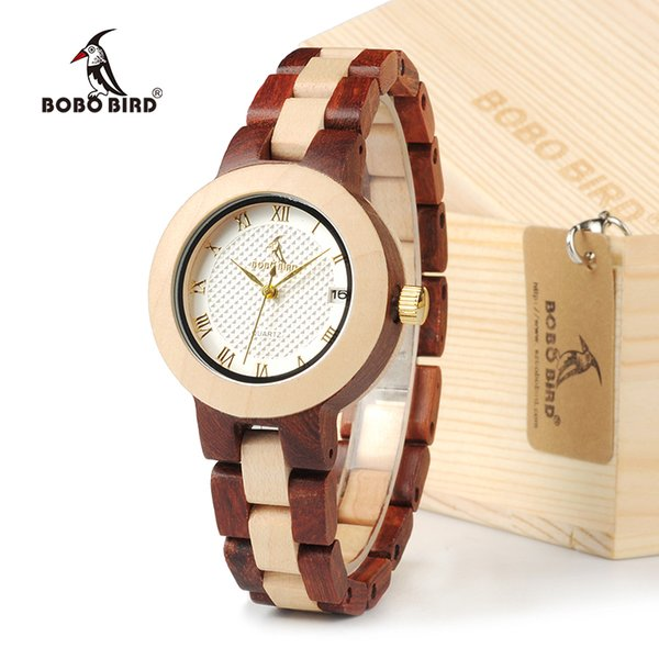 BOBO BIRD M19 Rose Sandal Wood Watch Women Minimal Dress Wristwatch Female Watches Top