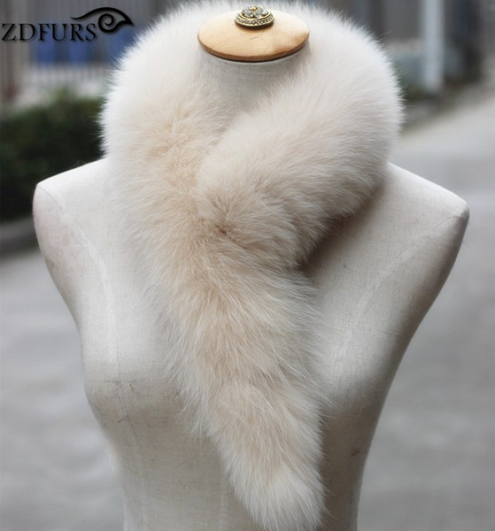 FXFURS 2017 Genuine Fox Fur Scarf 100% Real Fox Fur Collar Ring Muffler Women Stole Neck Warmer 14 Colors