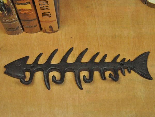 8e6aa1d98f0 2 Pieces Vintage Cast Iron Key Holder Key Rack Fish Bone Coat Hat Towel  Hook Holder