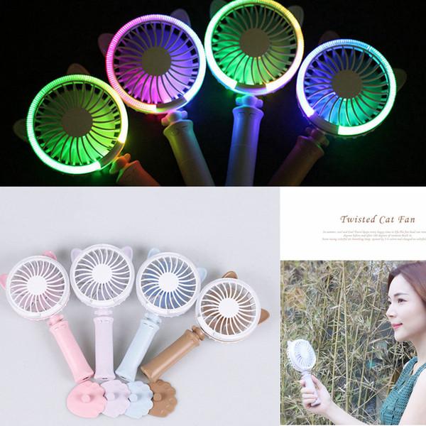4 Colors USB Handheld Twist Cat Fan Electric Power Desktop Colorful Night Light Fan Mini Air Cooler AAA242