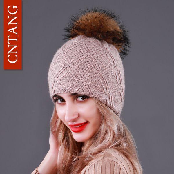 CNTANG Sombreros de punto de lana de doble capa para mujer con gorro de piel de pompones de mapache natural Gorros de invierno para mujer Moda Gorras calientes