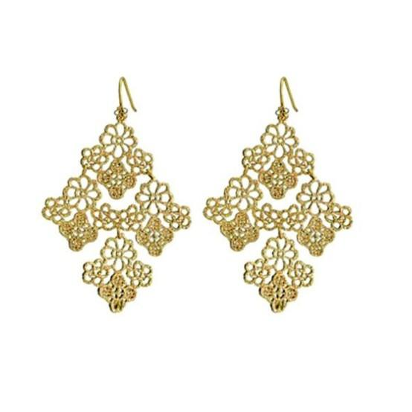 Black Gold Hollow Flowers Leaves Dangle Pendant Hook Earrings for Women Lady Girl Souvenir