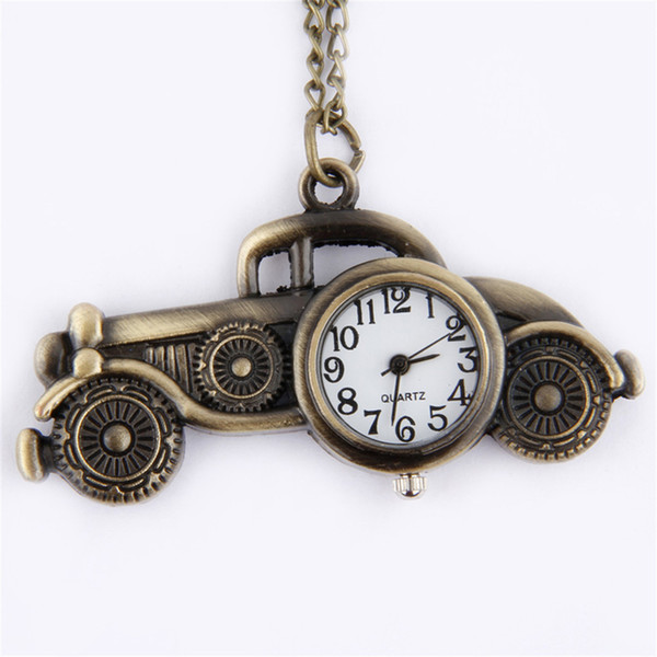 2017 Pocket &Fob Watches Children Kids Cute Gift Antique Bronze Classic Cars Design Pendant Pocket Watch Necklace Gift