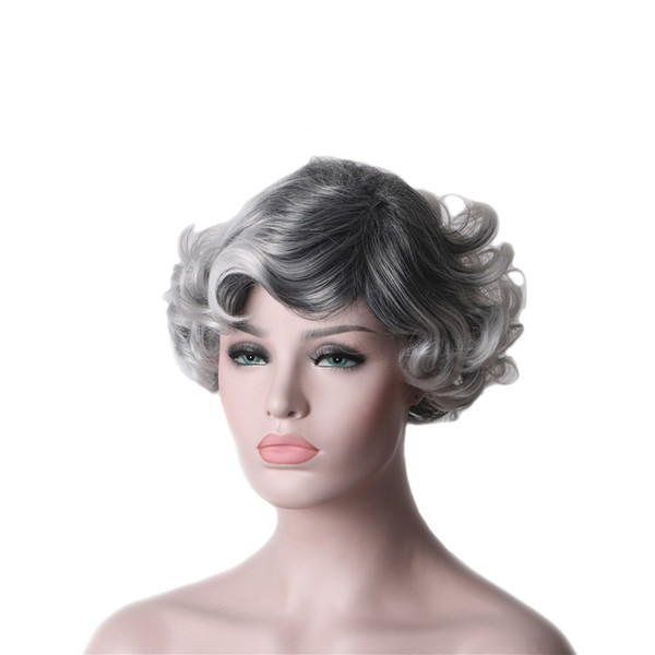 WoodFestival synthetic short curly hair puffy silver grey 2 tones wigs with bangs for women heat resistant wavy old woman wig