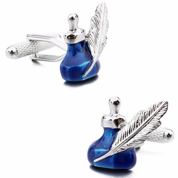 Trendy Blue Enamel Ink Bottle Cufflinks with Feather Pen Tools Pattern Cuff Links Buttons for Mens White long Sleeve French Shirt