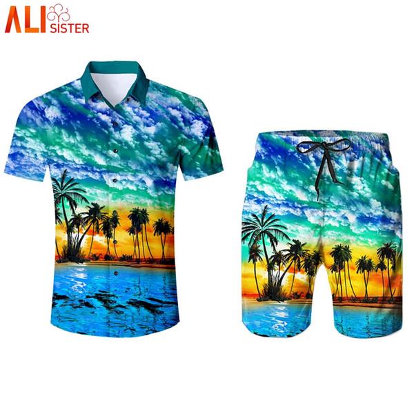 Alisister 2 Pieces Set Hawaiian Style Men's Shirts And Shorts Summer 3d Print Sweatpants Trousers Tuxedo Shirt Camisa Masculina
